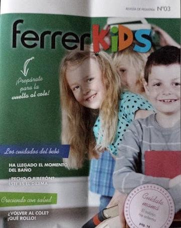 """La portada de la revista Ferrer Kids. Nótese que en la parte superior derecha pone """"revista de pediatría"""" por lo que cualquier lector podría pensar que esto ha sido escrito por un médico"""