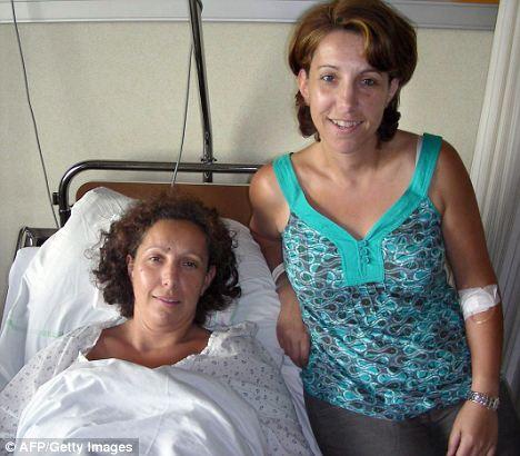 Las gemelas Karine y Stephanie el día del transplante de ovario. Fuente: Daily Mail